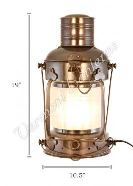 Electric Lantern - Ships Lanterns Antique Brass Anchor Lamp - 19""