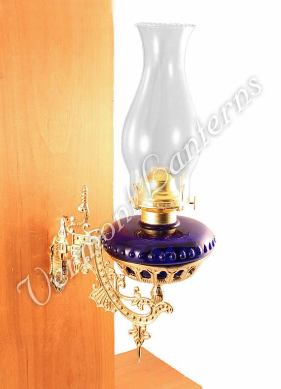 Hurricane Oil Lamps Cobalt Glass W Brass Wall Bracket
