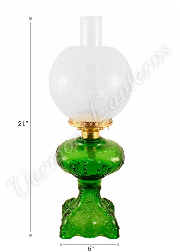 Emerald Quot Belvidere Quot Hurricane Lamp W Ball Shade Vermont