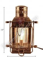 Electric Oil Lamps - Antique Brass Cargo Lamp 10""
