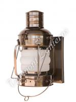 "Electric Lantern - Ships Lanterns Antique Brass Anchor Lamp - 15.5"" Custom Wall Mount"