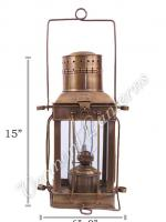 Oil Lamps - Antique Brass Cargo Lamp 15""